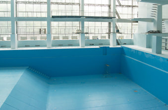 The finished and refurbished swimming pool.